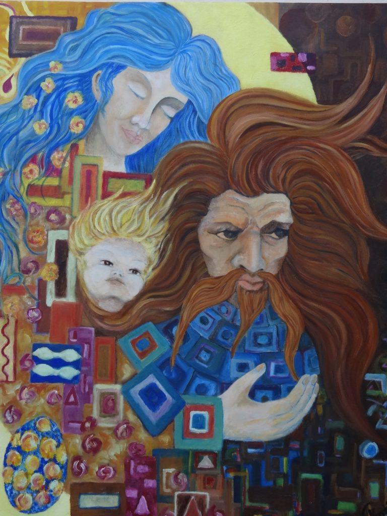 Les visages de l'homme -Huile sur toile  80x60 - prix : 200€ avec caisse américaine