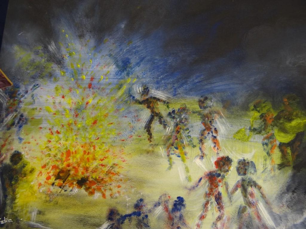 Danse autour du feu.....................Acrylique sur papier canson 200 g    75 x 55 - Merci à Paul de l'école d'art des acacias pour ses cours