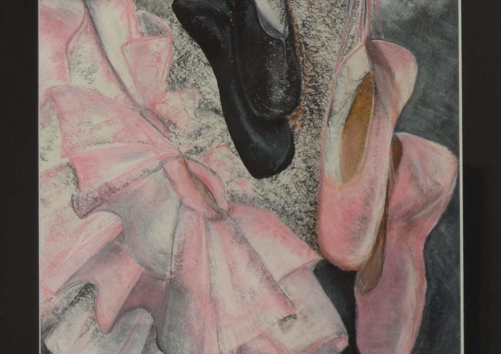 Les chaussons de danse..............Pastel sec  sur papier canson 200 g.   50 x 40