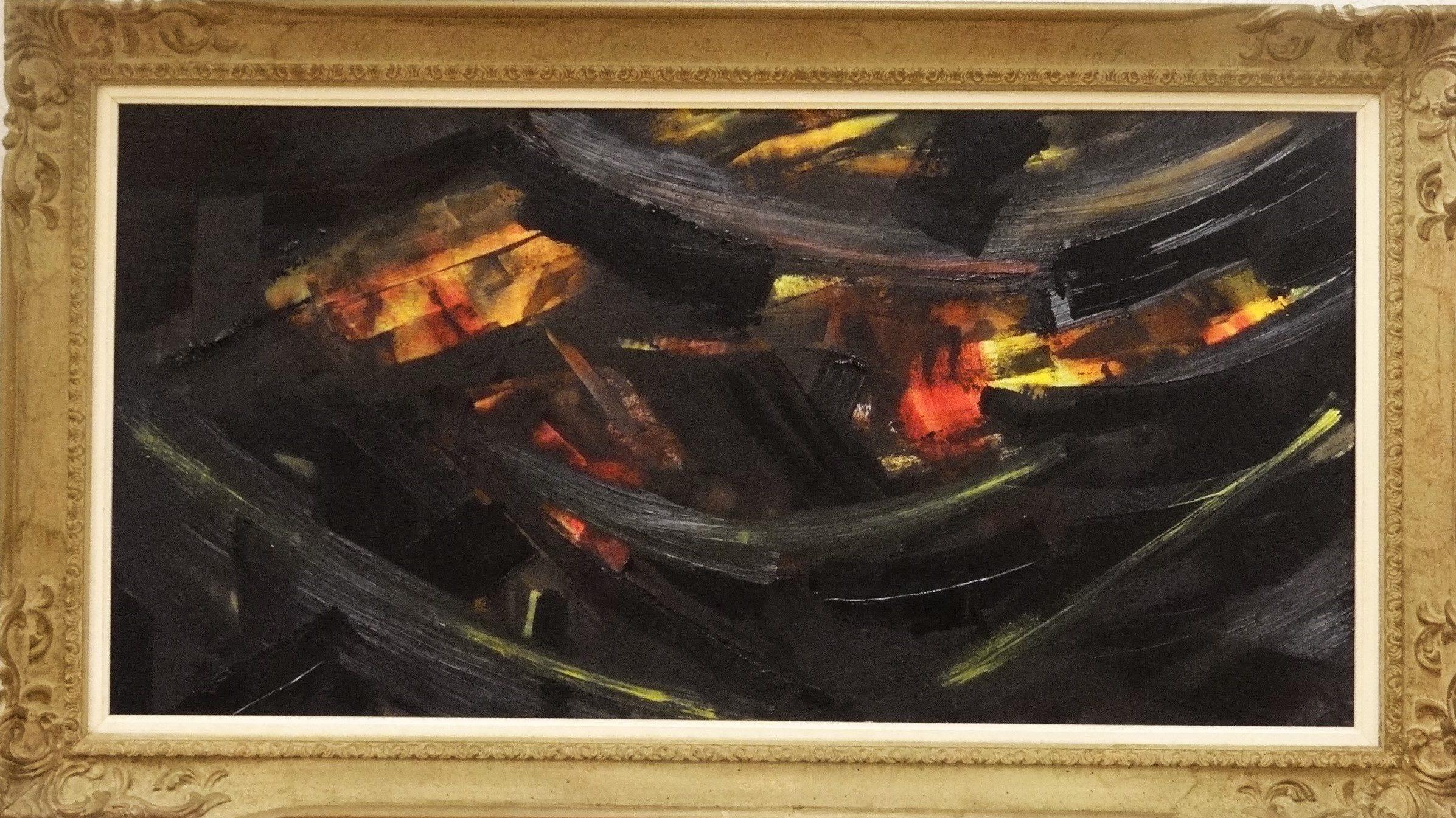 Fiction huile sur toile encadrée - 100 x 50 200€ avec cadre et 150 sans