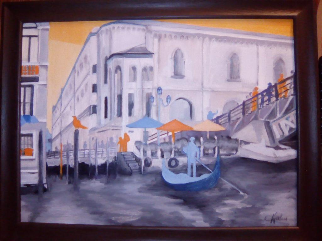 Venise - huile sur carton toilé 40 x 30 -