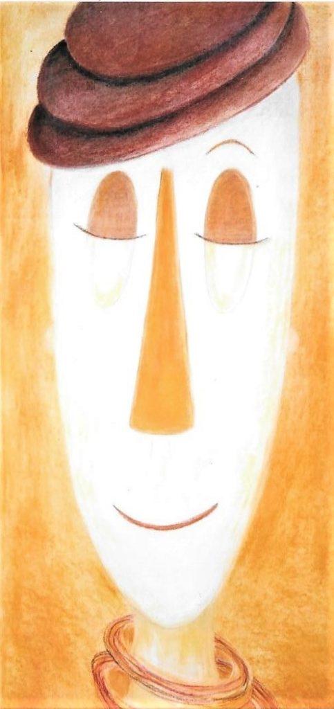 Clown serein  - Pastel sec sur papier canson - 30 x 80  -