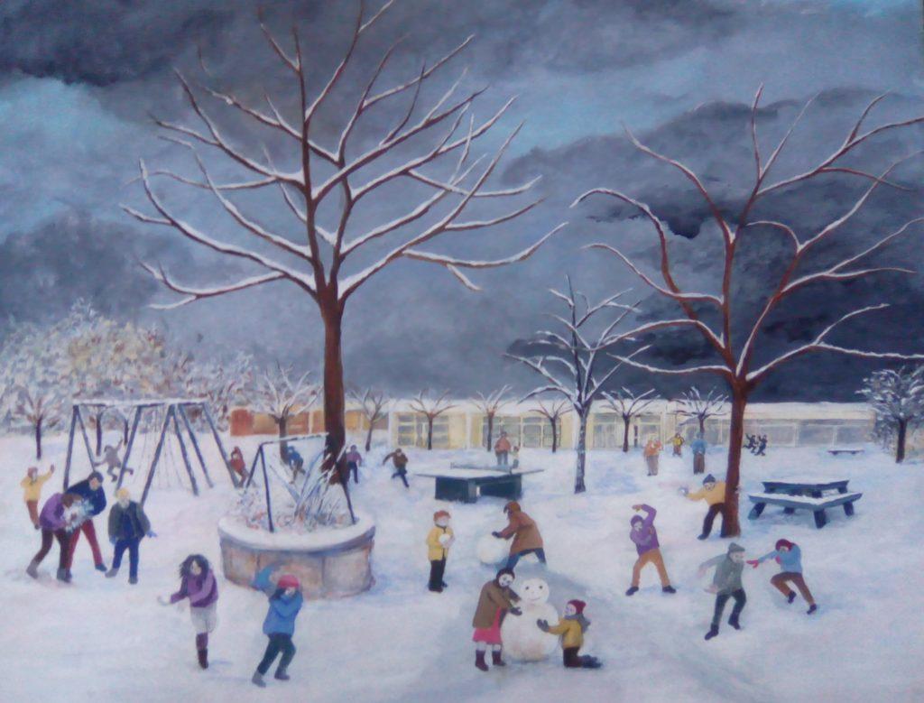 Fléac sous la neige - acrylique réalisée pour le concours de Fléac -  65x55 sur papier aquarelle 250g