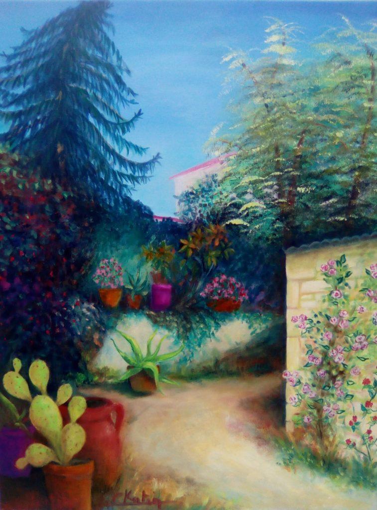 Jardin d'Echallat - peinture à l'huile -  50 x 65  - prix : 300 € encadrée ou 250 non encadrée
