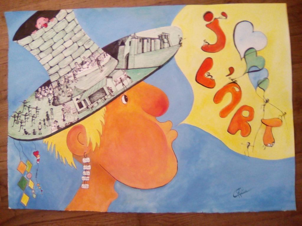 Chapeau l\\\'art !création juin 2017 - Acrylique et encre sur papier aquarelle 300 g -  75 x 55Offert à mon frère David