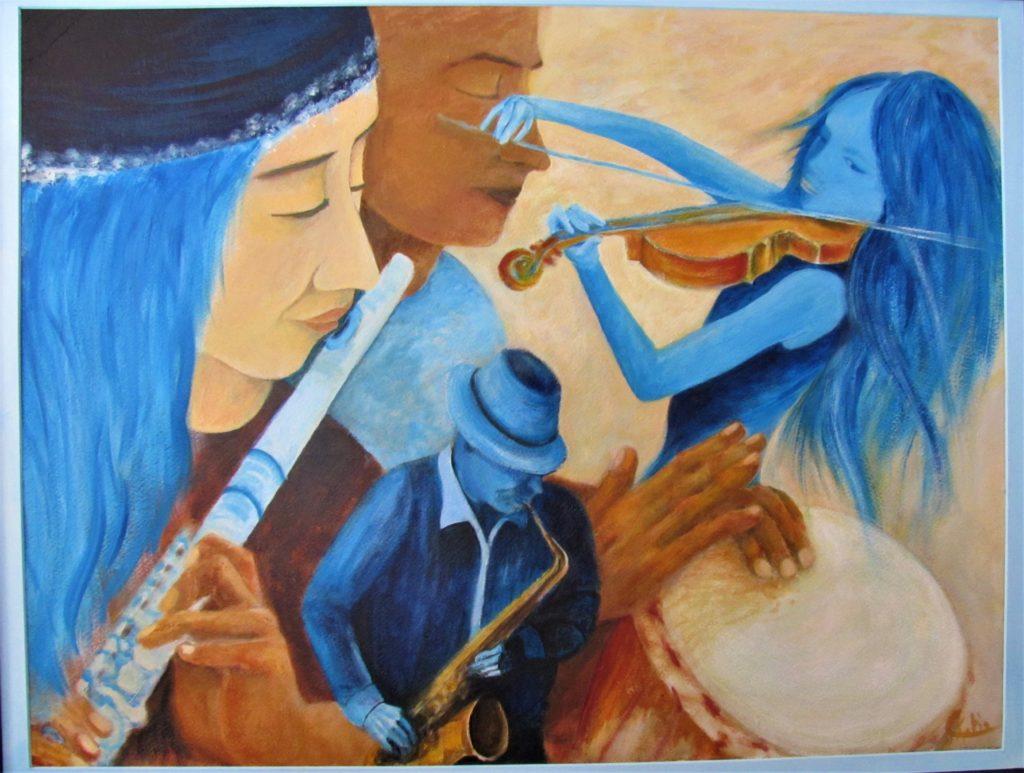 Les Musiciens - Acrylique sur papier aquarelle 600 g.Création 2017  90 x 72 encadrée,  (80 x 60) - Offerte à mon neveu Esteban