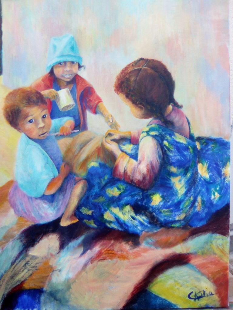 Enfants oubliés de Tananarive (Madagascar)......Photo prise par ma maman en 1986. Quand les enfants vivent dans la rue oubliés de tous.Offerte à mon frère et sa femme Miguel et Sylvie  Réalisée à l\'atelier du cèdre (16)Acrylique sur toile