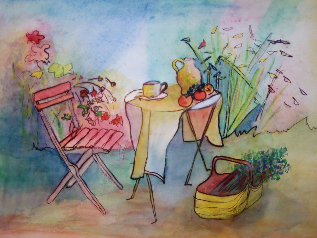 Petit déjeuner un matin d\'automne -aquarelle - vendue