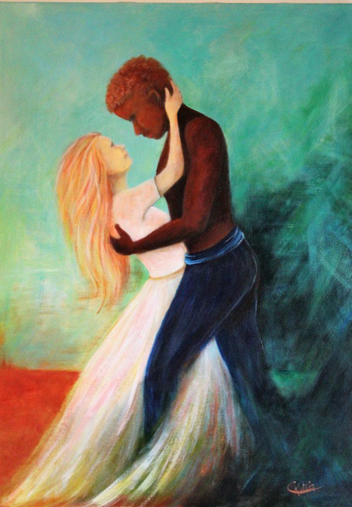 Mi Amor -  Acrylique sur toile   80 x 60  - Offerte à mon fils Vincent