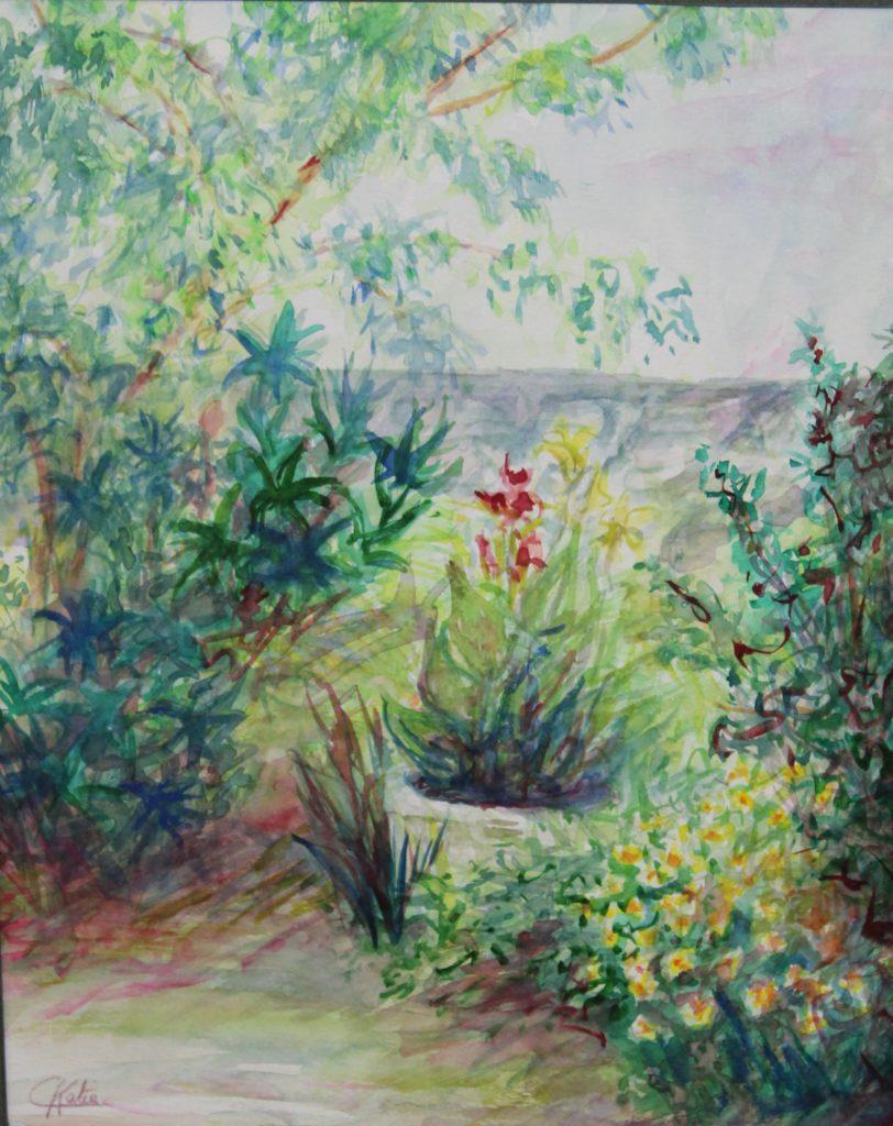 jardin au printemps -aquarelle- offerte à ma nièce