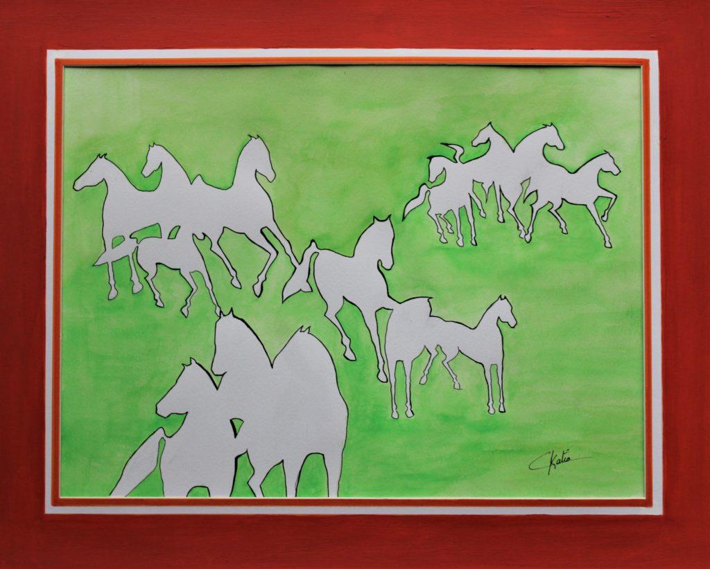 Galop - aquarelle et feutre - 40 x 30 -