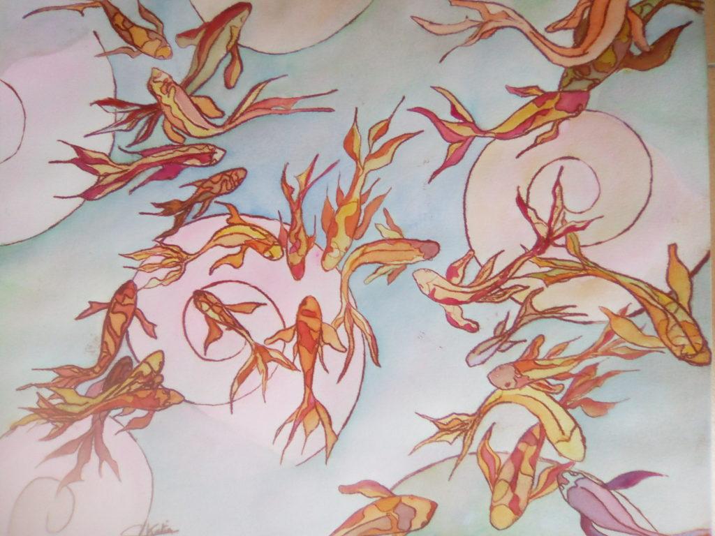 Comme un poisson.....technique mixte sur papier 300g - 40x50