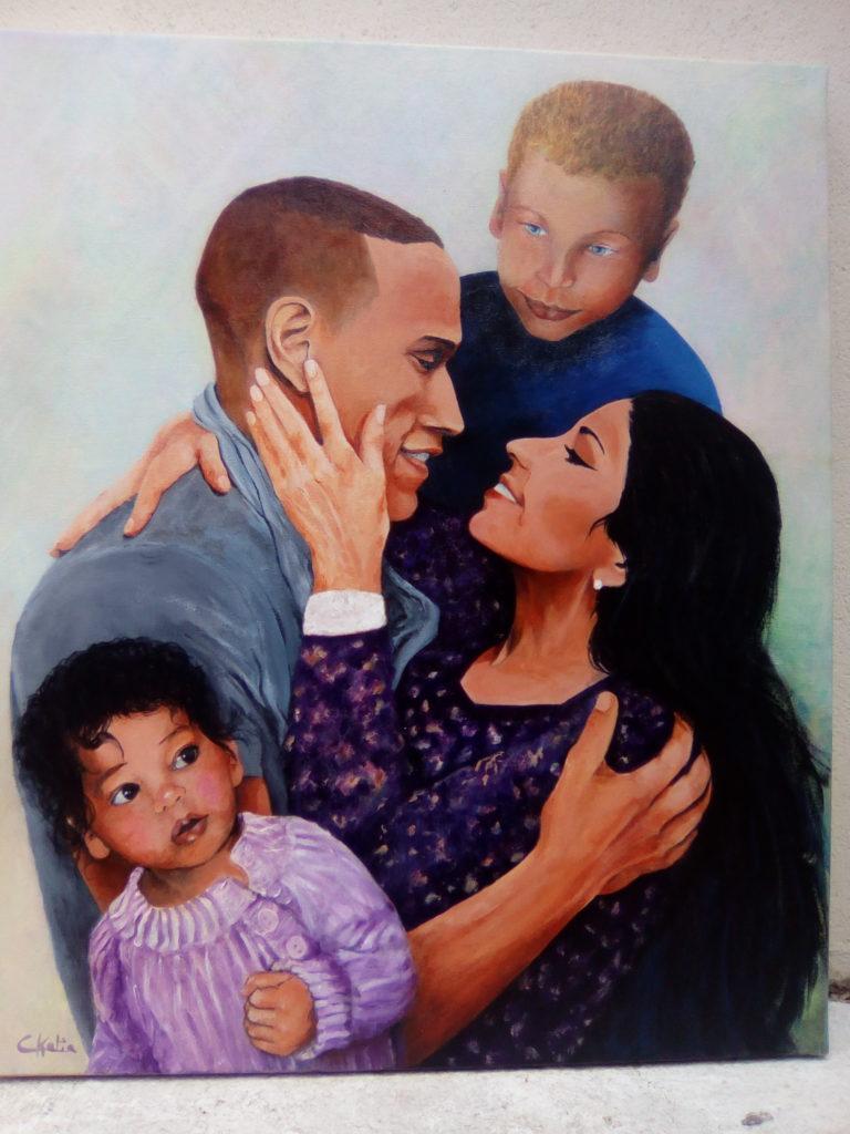 Peinture acrylique sur toile - Ma famille - collection perso. Offerte pour leur mariage