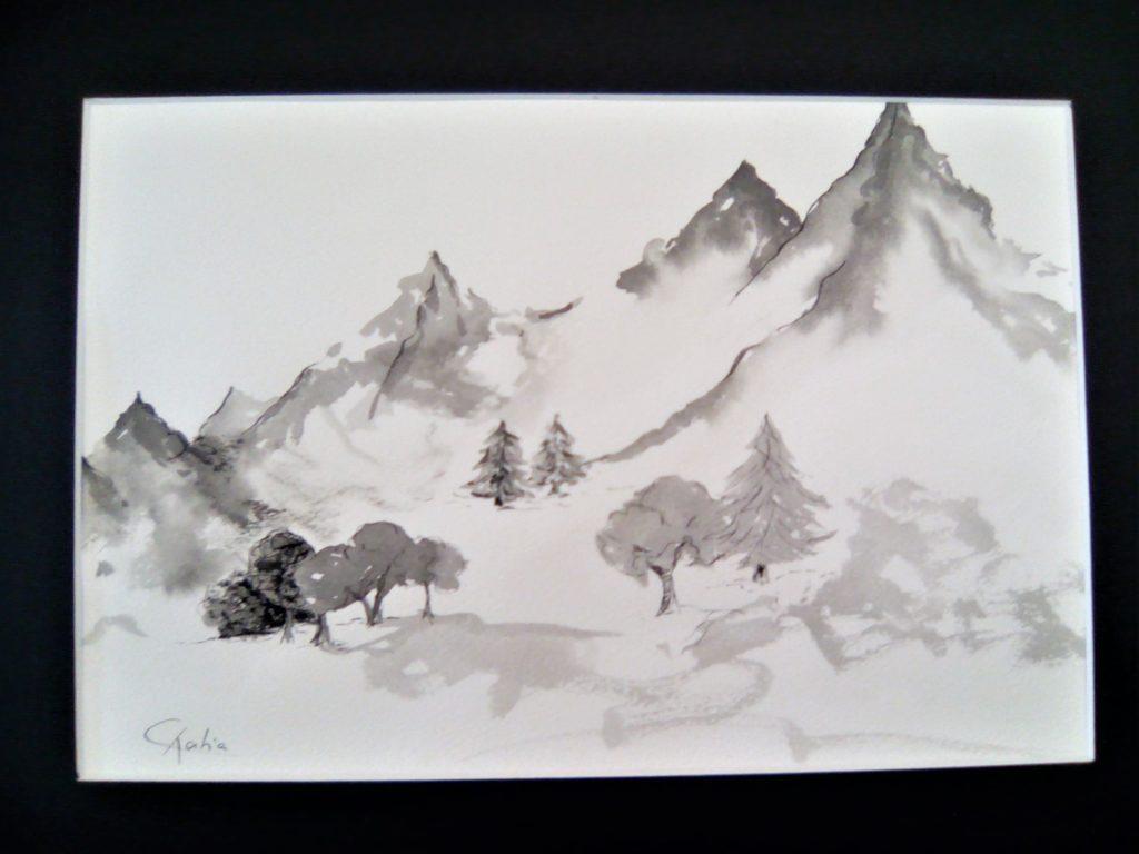 Sérénité - encre de chine sur papier aquarelle 300 g (30 x 40) -  Vendue