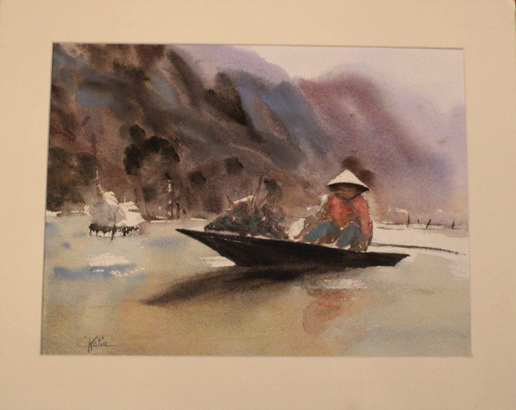 marché sur l\'eau - aquarelle - sur papier Arches 300g  -80€