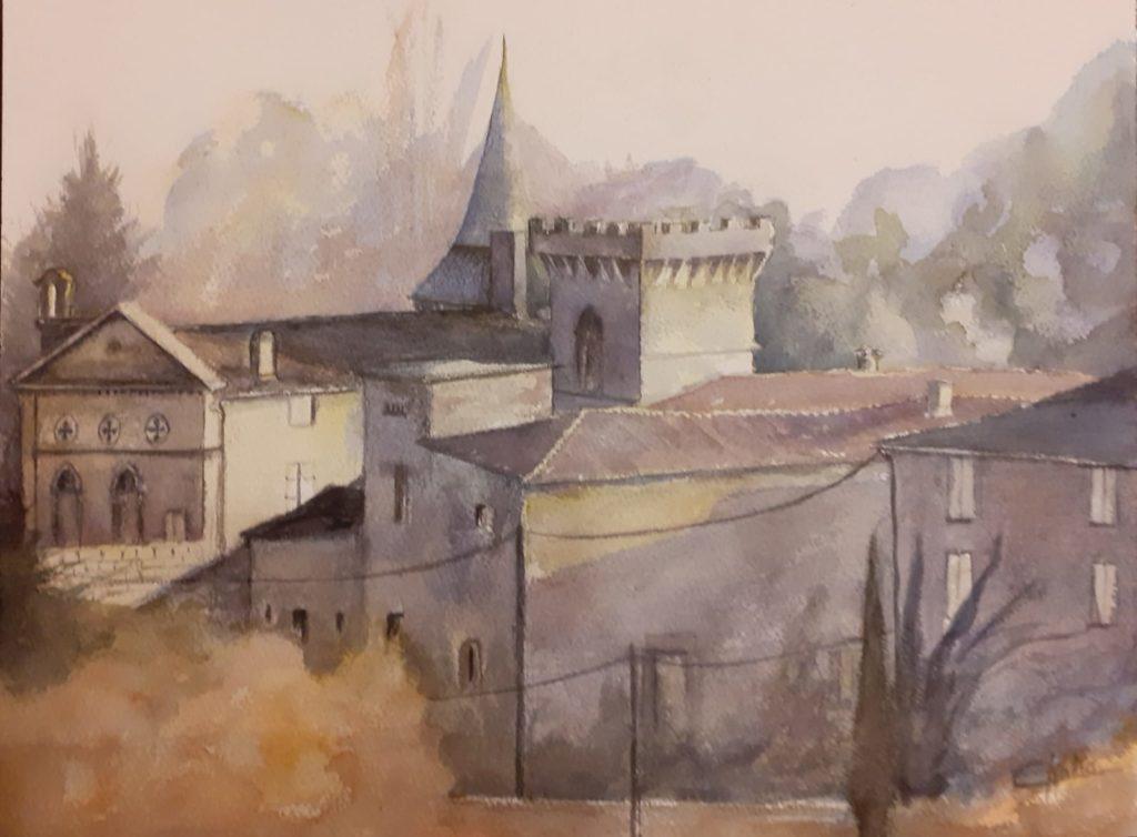Logis de Pindray à l\\\'Isle d\\\'Espagnac - aquarelle format A3 papier Arches 300g  - vendue