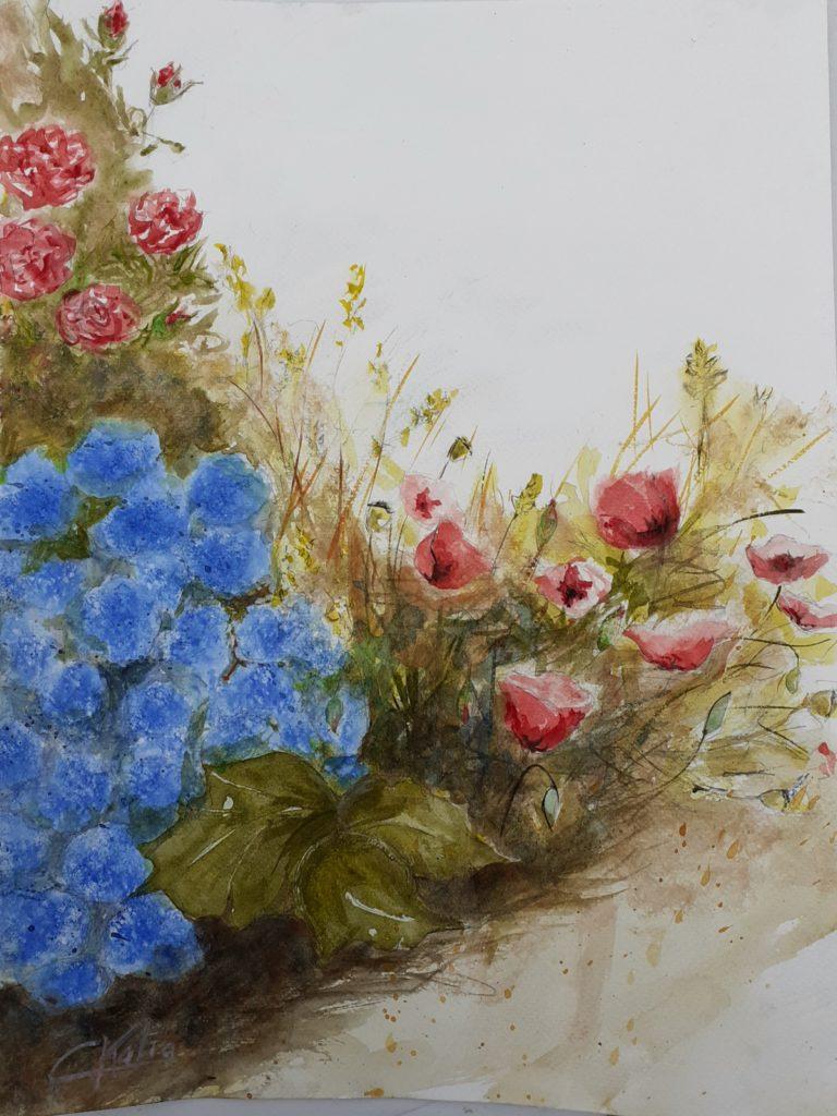 Fleurs d\'été - aquarelle sur papier arches300g -format A3 - 80€