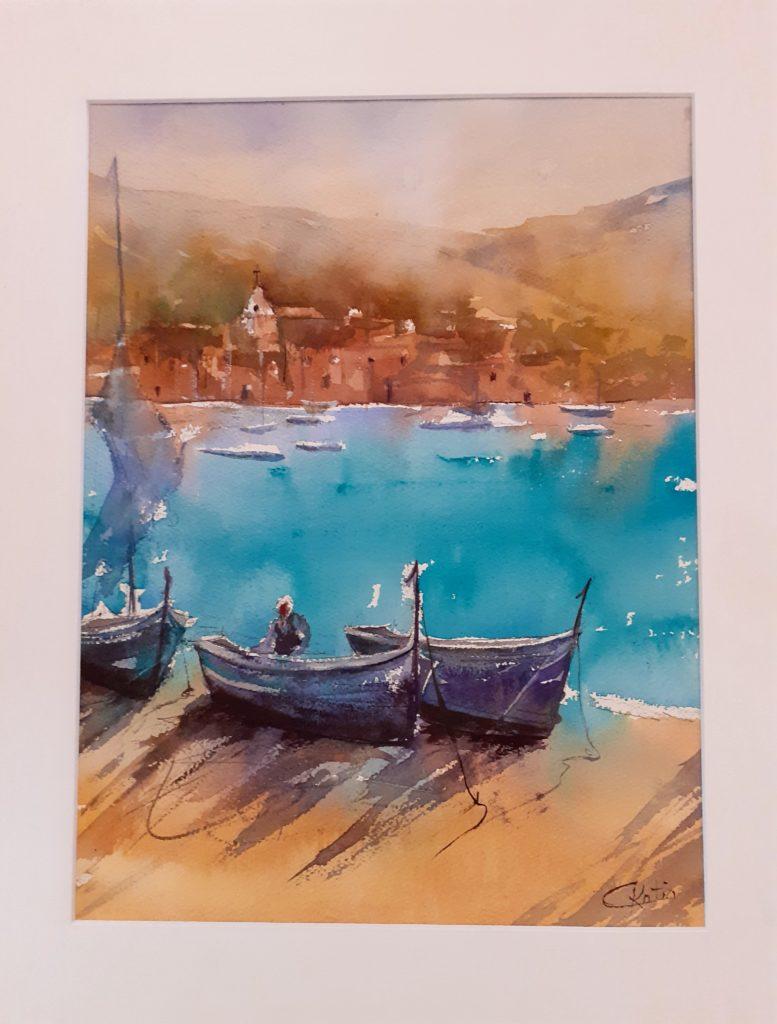 """aquarelle sur papier arches300g """"au bord de l'eau"""" 30x40"""