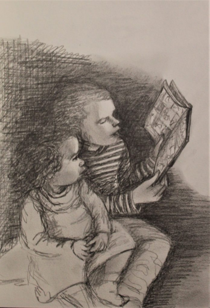 """mes amours """"lecture"""" - crayon 20x30"""