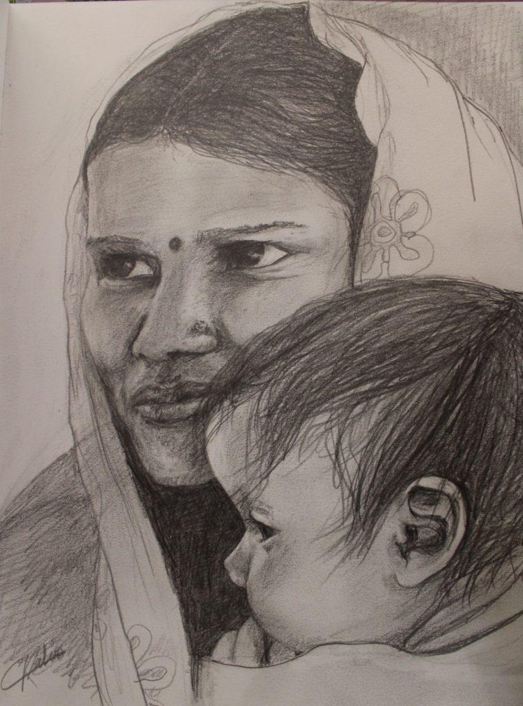 Femme de l'Inde - crayon - 20x30