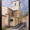 Eglise de l\'Isle d\'Espagnac - aquarelle sur papier arches 300g - 40x50 avec encadrement - 80€