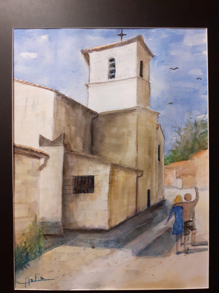 Eglise de l'Isle d'Espagnac - aquarelle sur papier arches 300g - 40x50 avec encadrement - 80€