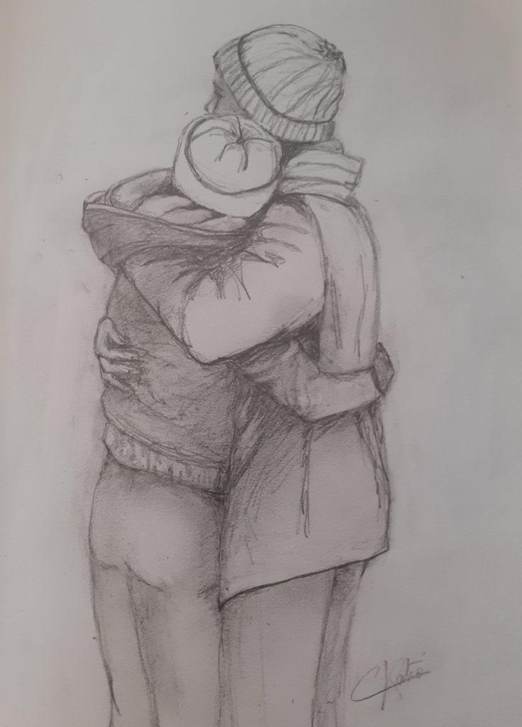 Tendresse - 40x30 - crayon d'après une peinture de dubovoy_artist (instagram)