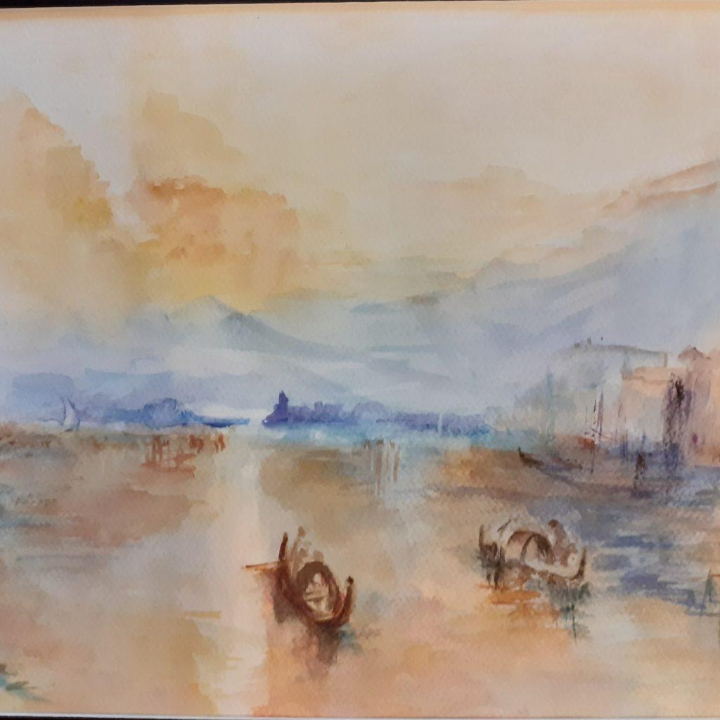 Venise d'après une aquarelle de Turner 40x50 sur papier Arches 300g - 80€